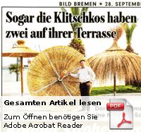 Bild Zeitung Strohschirme